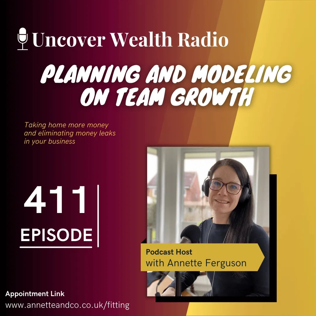 Annette Ferguson Podcast Banner of Uncover Wealth Radio Episode 411 about Planning and Modeling on Team Growth