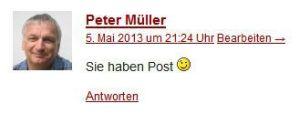 Peter schreibt: Sie haben Post. :-)