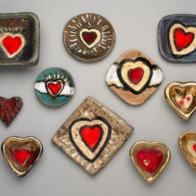 Ceramic heart plates