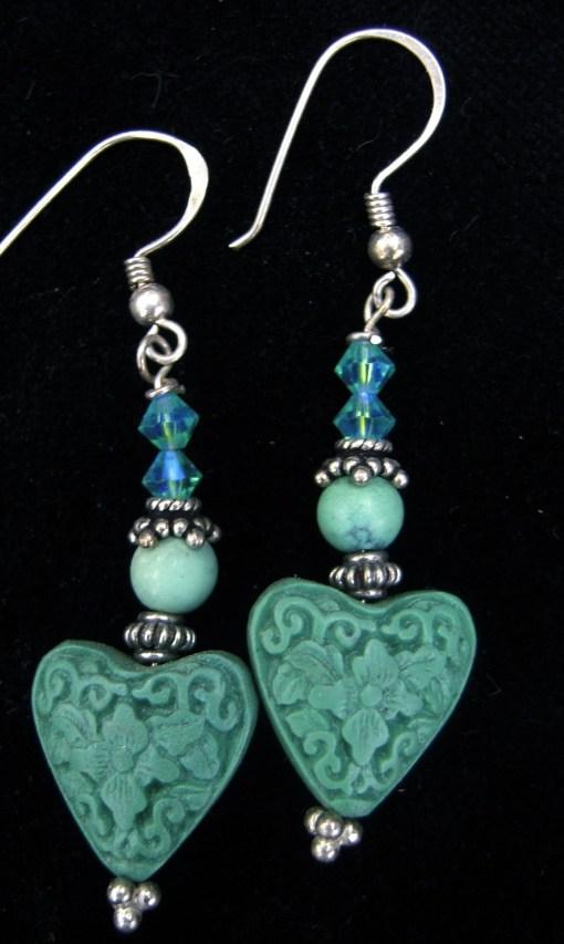 Green cinnabar earrings