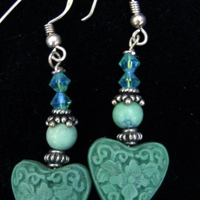 Green cinnabar earrings