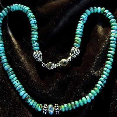 Rolled turquoise necklace with silver and opal bead