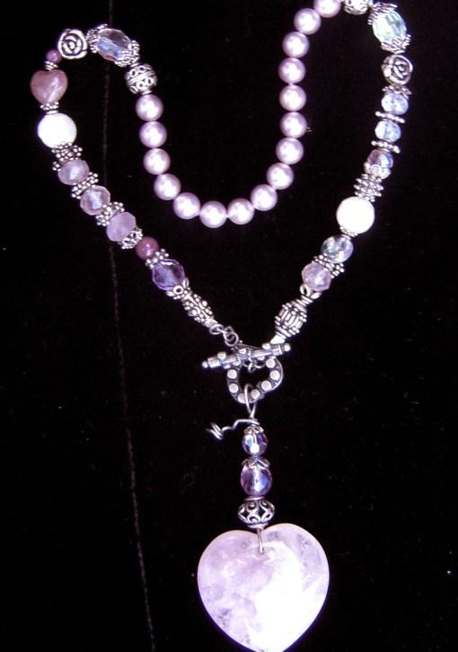Rose quartz heart talisman necklace