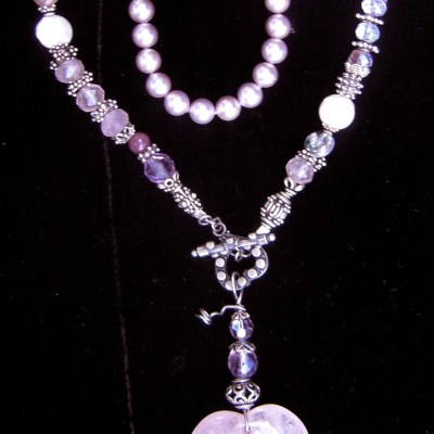 Rose quartz heart talisman necklace