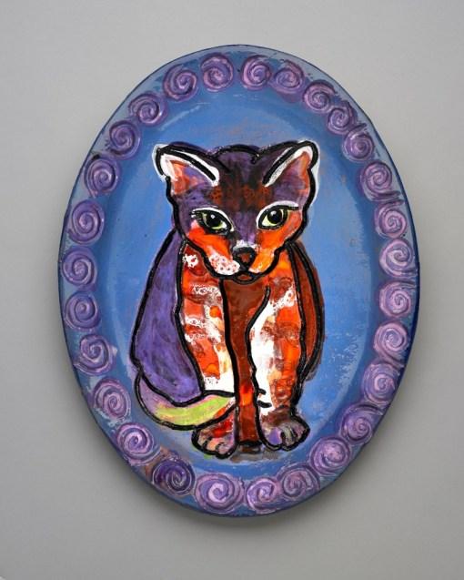 Cat Staring Ceramic Plate
