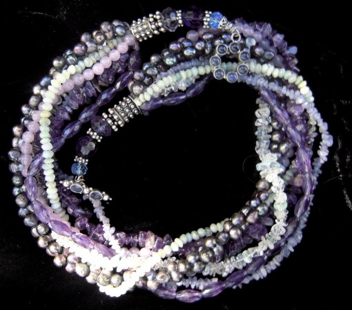 Tanzanite amethyst aquamarine necklace