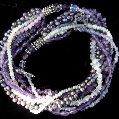 Tanzanite amethyst aquamarine necklace