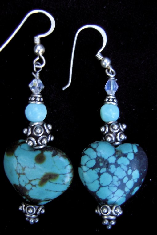 Turquoise heart earrings with silver