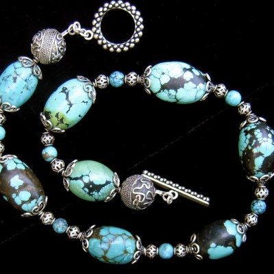 Turquoise nuggets with silver beads necklace