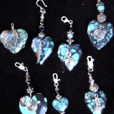Turquoise Hearts Wrapped with Silver, Charms, and Clasps
