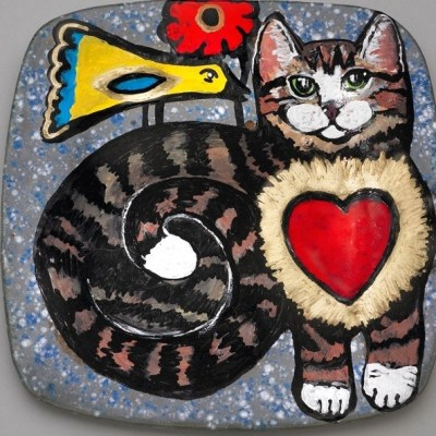 World of Peace Plate - Cat & Bird
