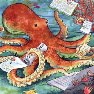 Occupied Octopus: children's book art