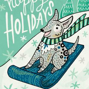 Holiday Card: Sled Dog