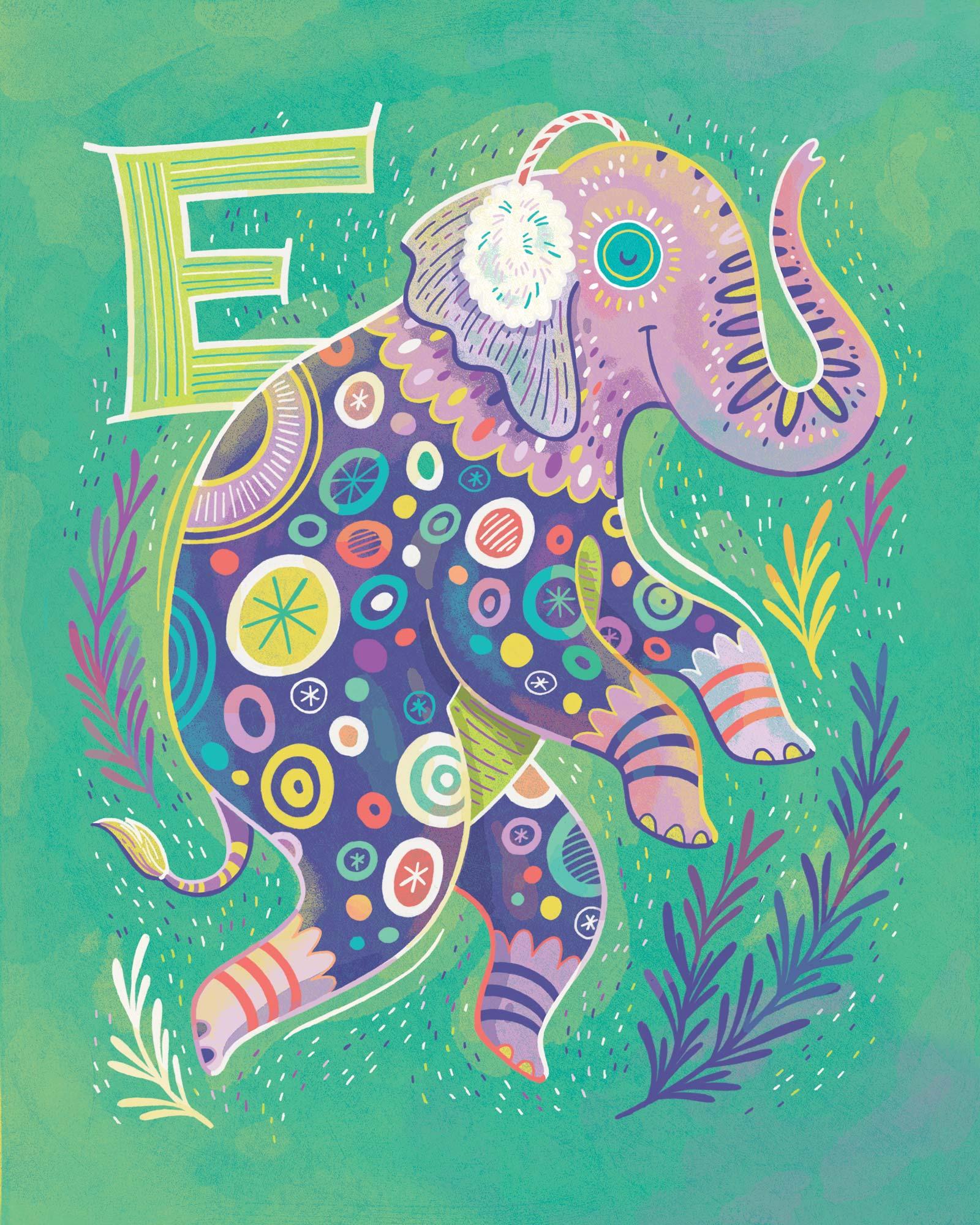 E is for Elephant wearing Earmuffs — print for sale