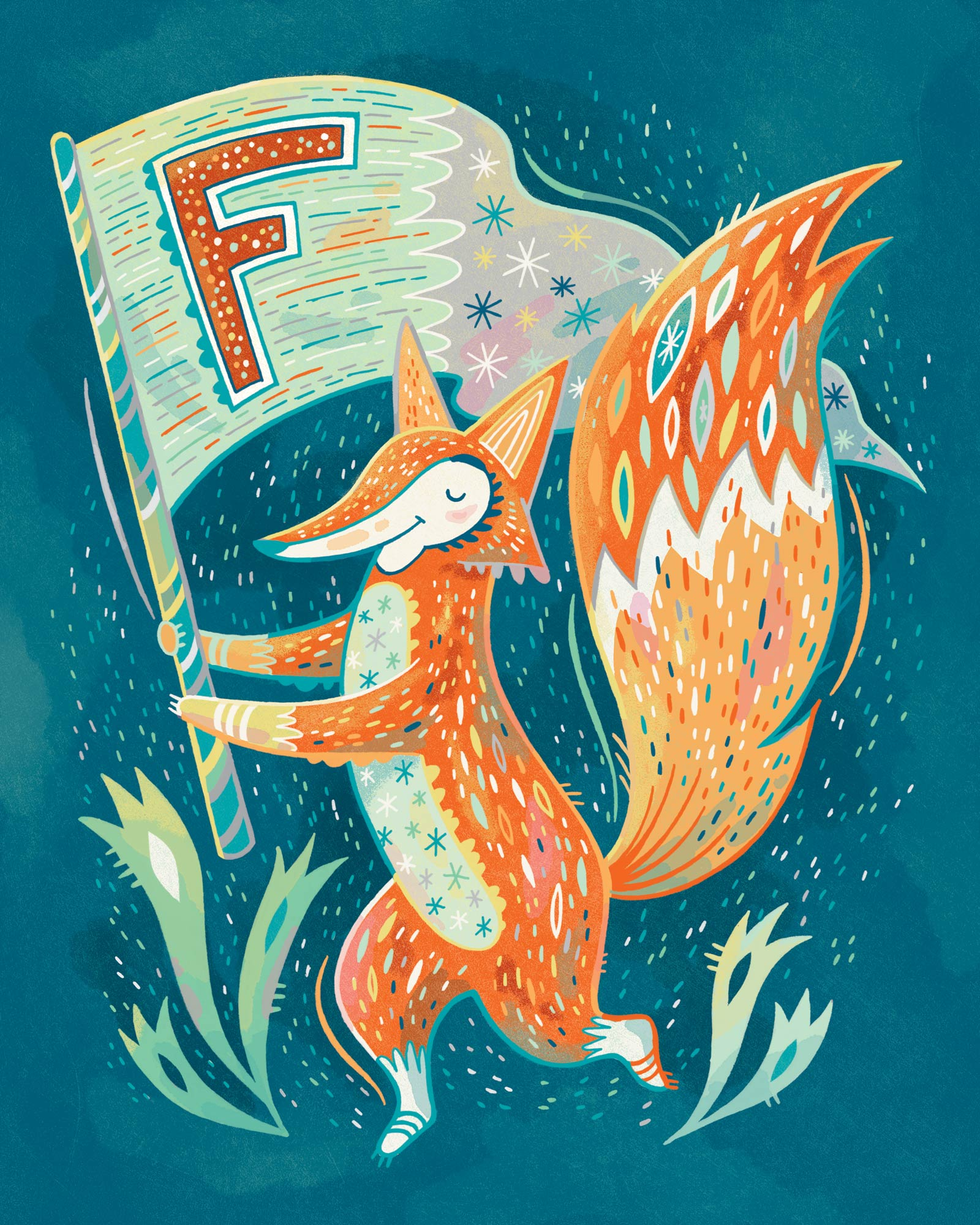 F is for Fox Waving a Flag