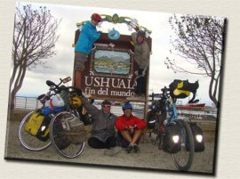 family on bikes travelled with their 2 kids from North America to the furthest point in south america
