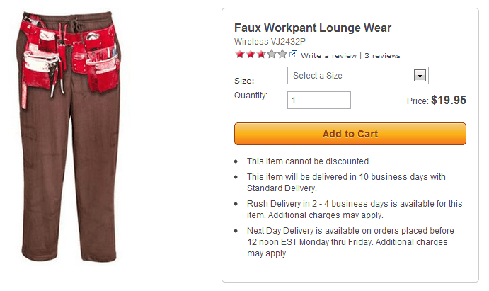Faux Workpant lounge wear: stupid skymall products you can buy
