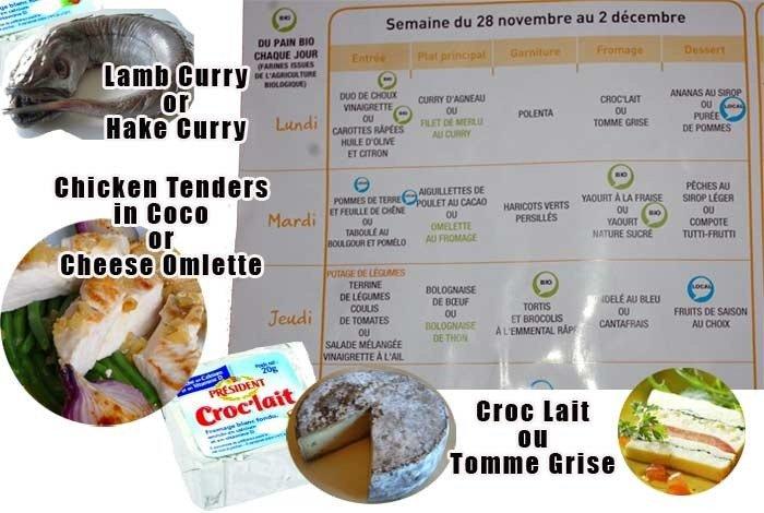 French preschool lunch menu.