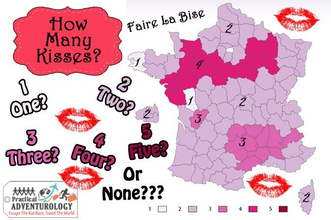 To faire la bise, you can give 1,2,3,4 even five kisses depending on which region of France you are in.