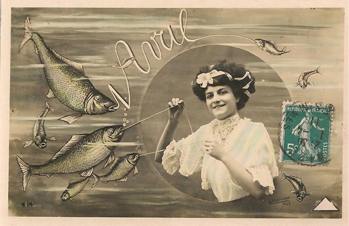 Old post card people used to send for April fools day in France