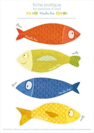 printable paper fish for April Fools day in France