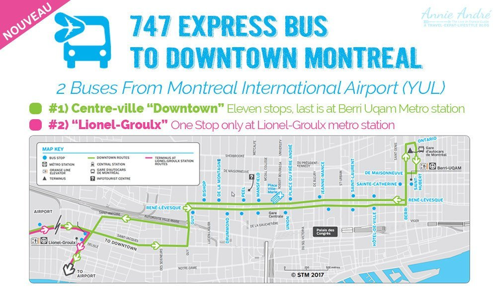 747-bus-route Getting to downtown Montreal from the airport on the 747 express bus