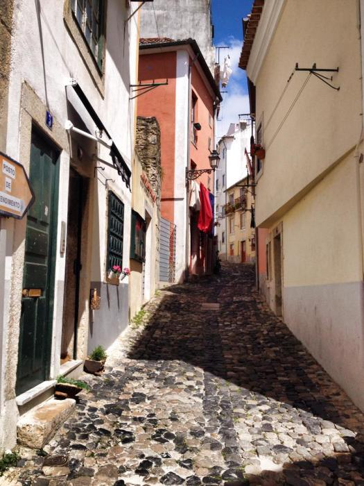 Wandering in the back alleys in Lisbon, Portugal