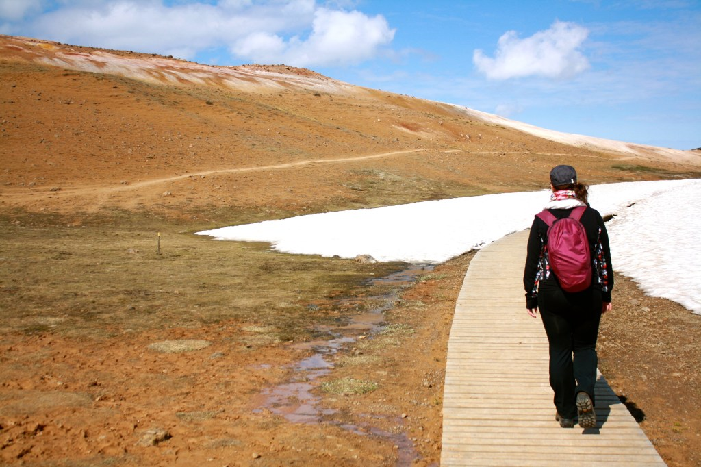 Walking in the snow in Myvatn, Iceland