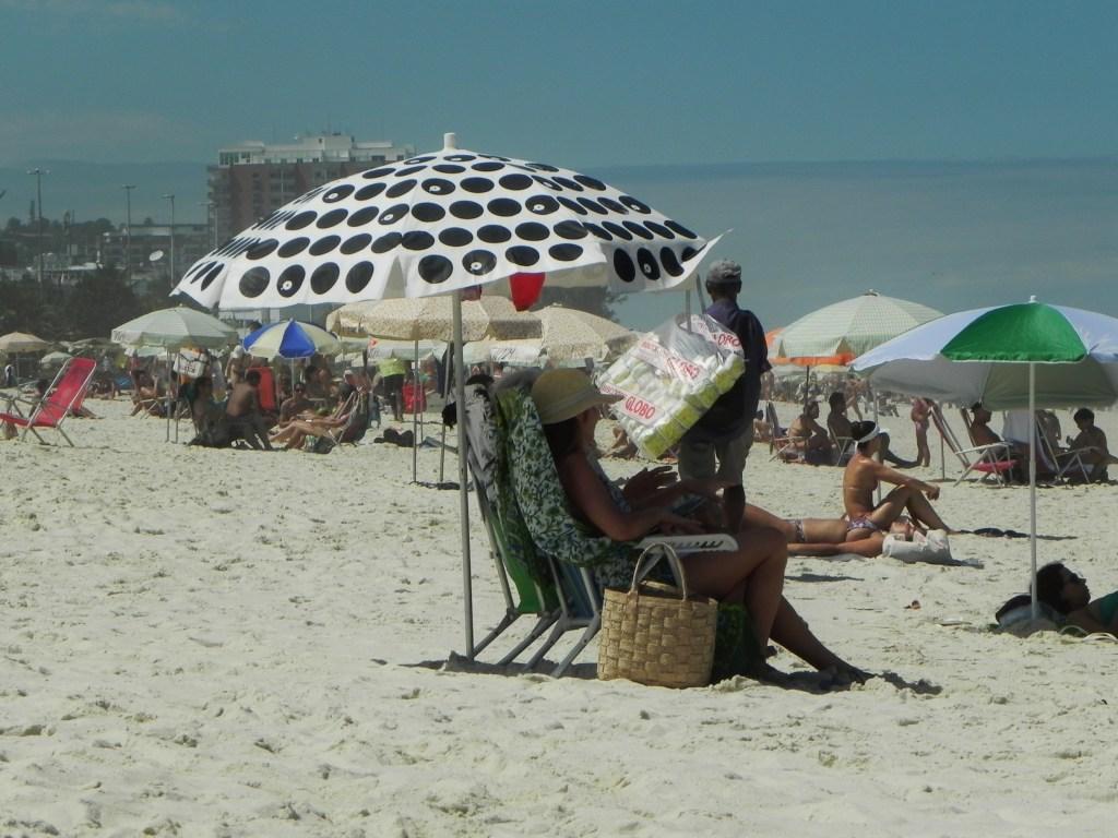 Reading at the beach in Rio de Janeiro
