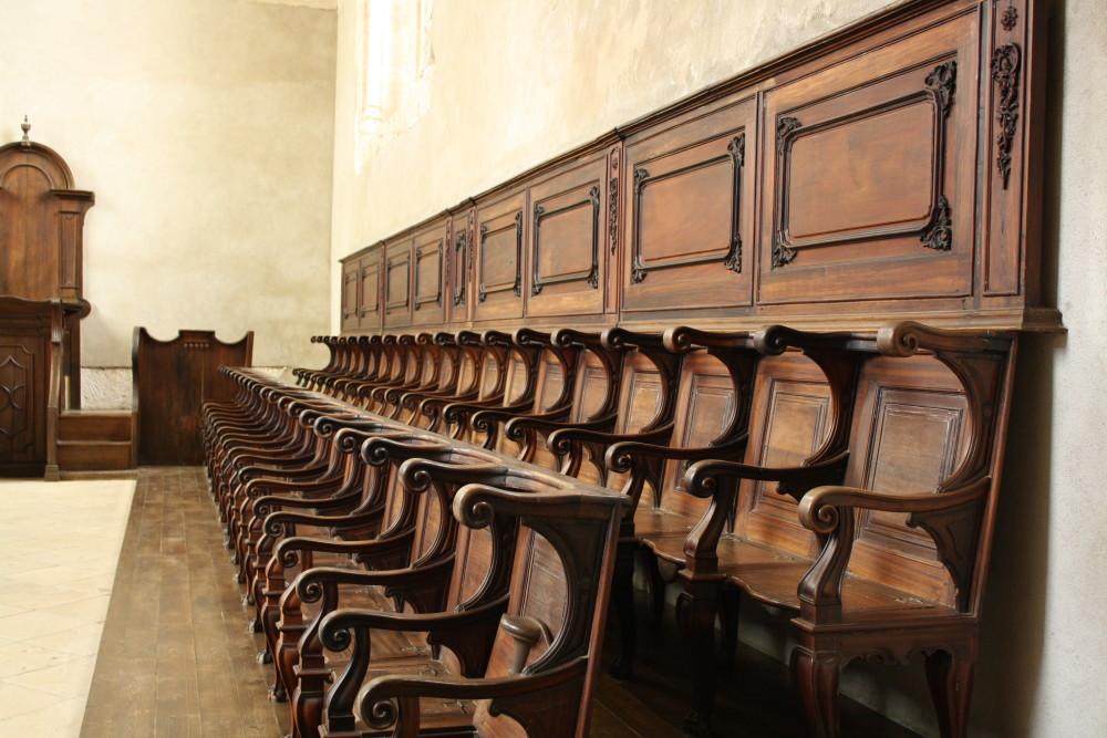 Bench inside the Covento de Cristo in Tomar, Portugal