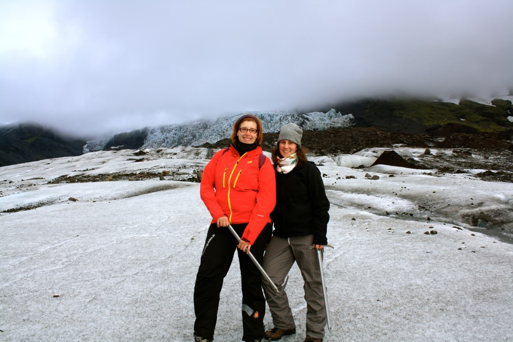 Hiking on a glacier in Iceland with my best travel partner