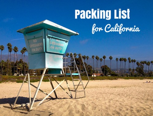 Packing list for California in Autumn