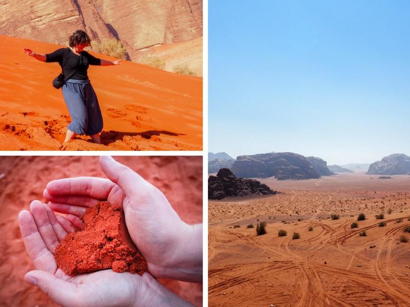 Sable rouge du désert de Jordanie