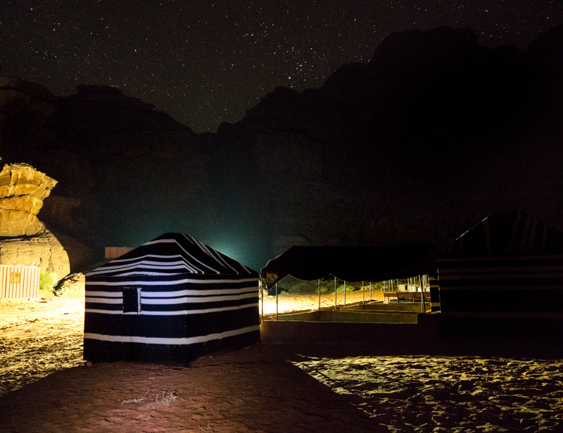 Ciel étoilé dans le désert de Jordanie
