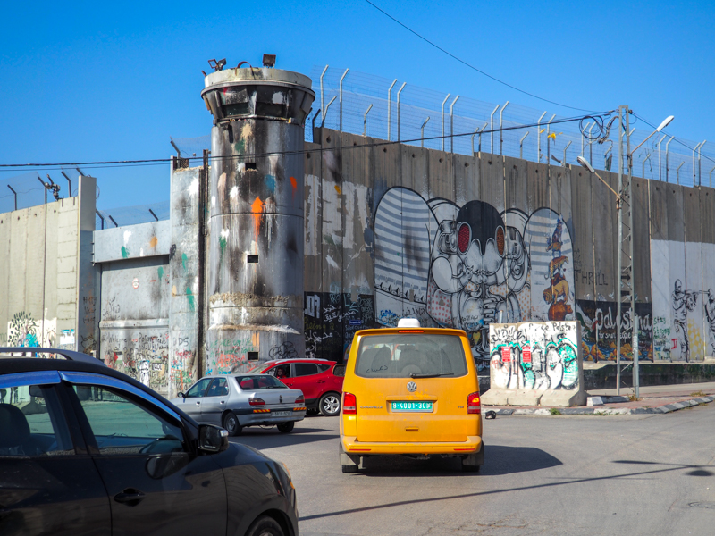 Tour de guet du mur de West Bank en Palestine.