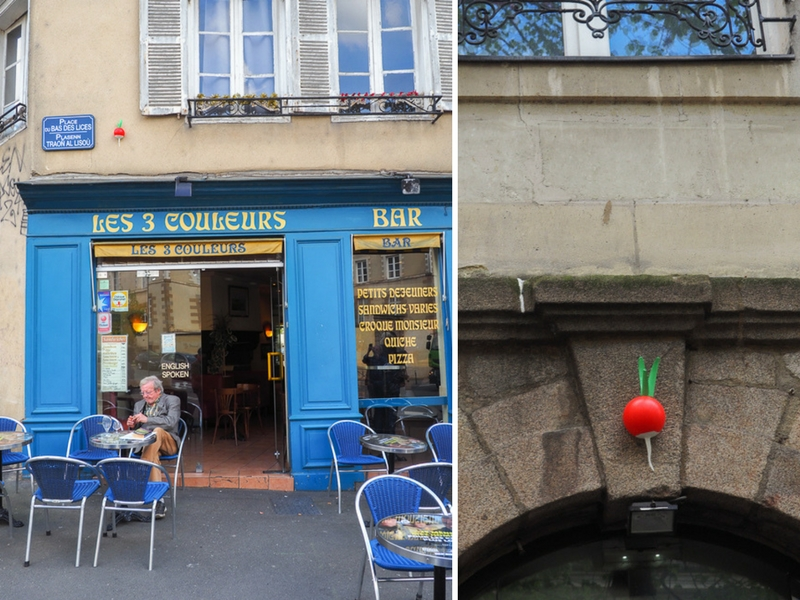 Radis, street art dans la ville de Rennes en France.