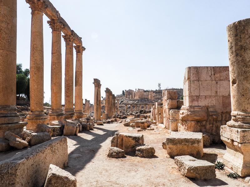 Route des ruines de Jerash.