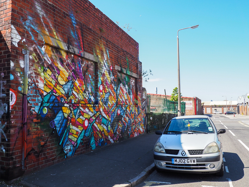 Street Art dans le quartier Baltic Triangle de Liverpool en Angleterre.