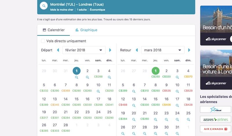 Calendrier des dates les moins chères sur Skyscanner