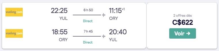 Résultats de recherche de billets d'avion sur Skyscanner