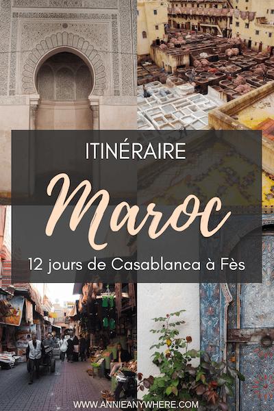 Itinéraire complet pour visiter le Maroc en 12 jours, de Casablanca à Fès en passant par Marrakech, Aït-Ben-Haddou, Ouarzazate et Merzouga. L'essentiel pour visiter les incontournables du Maroc lors d'un premier voyage dans ce pays d'Afrique du nord. #Maroc #itineraire #voyage