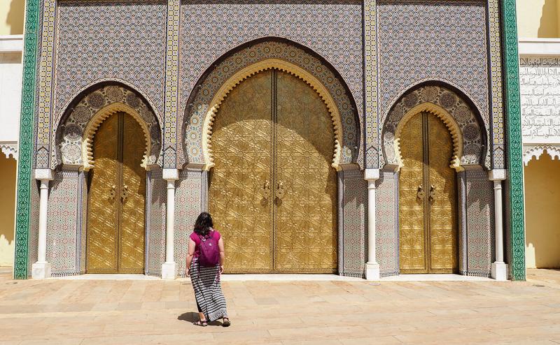 Les portes dorées du Palais Royal à Fès au Maroc