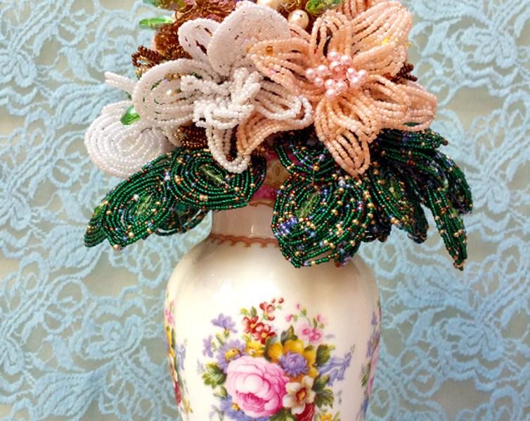 My first hand beaded bouquet – Sculpture
