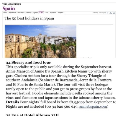 The Times Top Holidays Spain Sherry Tour