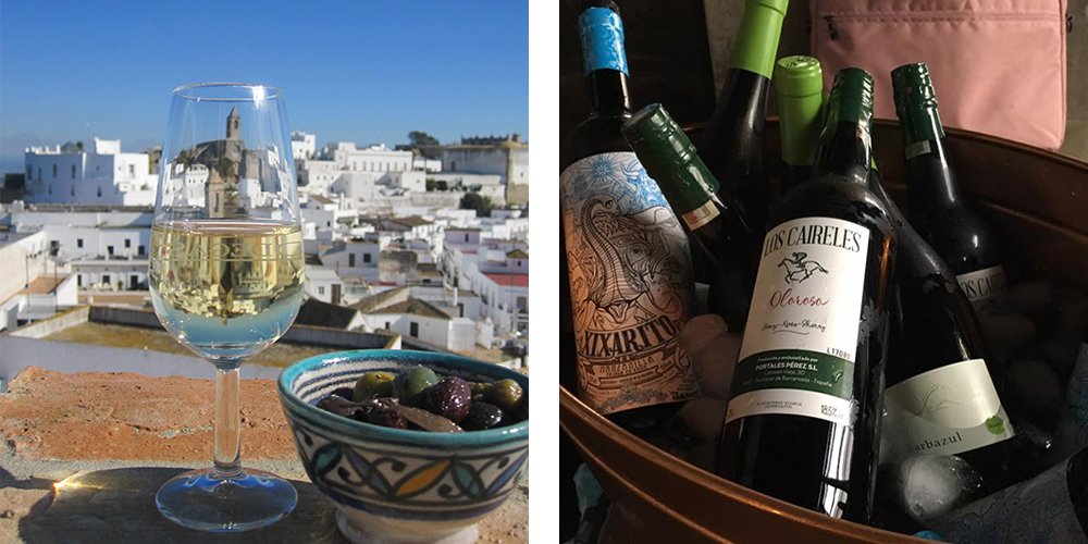 Sherry bottles & sherry with a view
