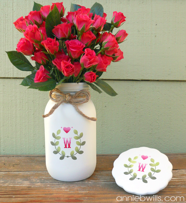 Mason Jar Vase And Matching Trivet Using The New Silhouette Stencil