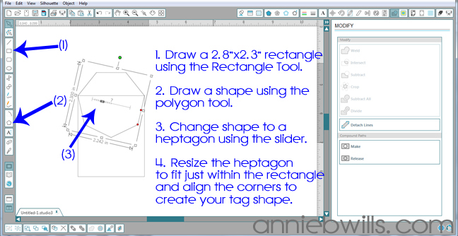 Designing Simple Tag Shapes in Silhouette Studio by Annie Williams - Drawing Rectangle Tag