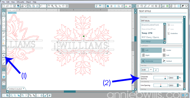 6 Split Monogram Napkins by Annie Williams - Adjust Text
