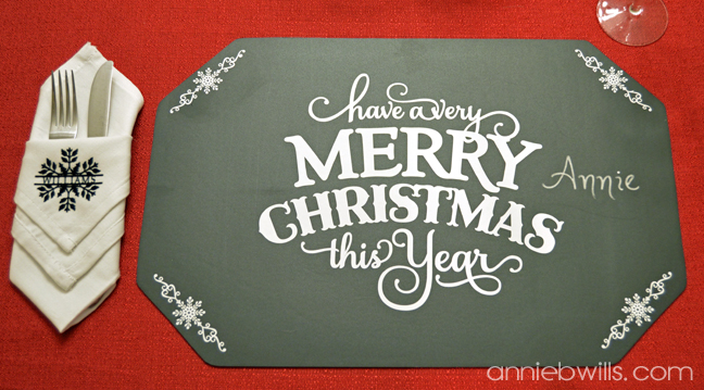 Holiday Chalkboard Placemats by Annie Williams - Chalk Detail