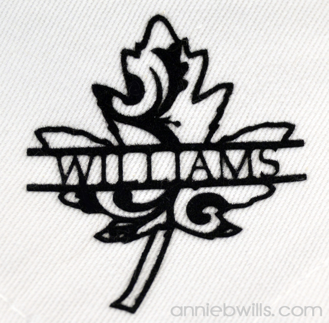 Split Monogram Napkins by Annie Williams - Leaf Detail